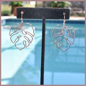 Jewelry - Gold Tropical Leaf Earrings